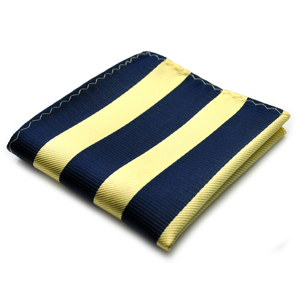 PenSee Mens Pocket Square 100% Silk Woven Yellow & Dark Blue Striped Pocket Square #20(China (Mainland))