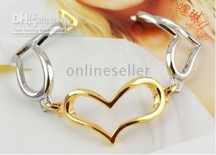 bangle bracelets, jewelry Korean Heart bracelet Fashion silver plated bracelet chains, Multi-layer