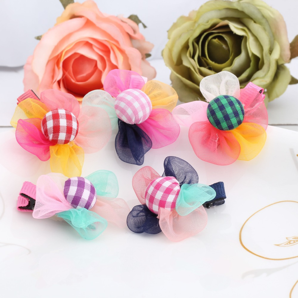 1pc summer style 5 Colors new Chiffon Plaid flower Born Baby Flower Hairpins hair Accessories Children Accessories Hair clips(China (Mainland))