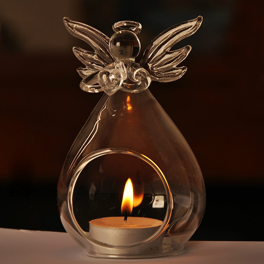 DIY Cute Angel Shaped Glass Hanging Scented Candle Holder Home Decor Wedding Decoration Romantic Candlelight Dinner Table Decors(China (Mainland))