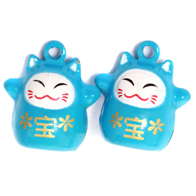 2015 New Style 15pcs/lot Blue Fortune Cat Jingle Bell Fit Phone & Bags & Bracelets 14*19*20.5mm 270274(China (Mainland))