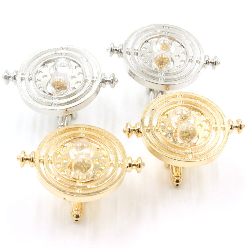Cufflinks Time Turner Alloy Gold Silver Plated Chain Spins Rotating Hourglass Cufflinks for Women and Men QC(China (Mainland))