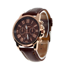 2015Fashion Geneva Roman Numerals Faux Leather Analog Quartz Wristwatches Men Women Watch Perfect Gift