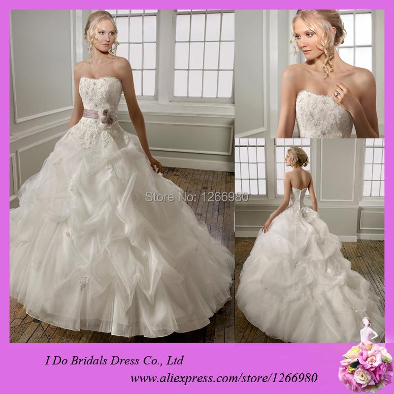 Ruffle Skirt Bead Belt Ball Gown Wedding Dress with Sweetheart Neckline Ruched Wedding Dress For Sale Online Vestidos De Novia(China (Mainland))