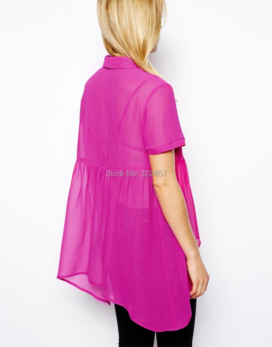 al por mayor precio! 2015 popular del verano de la gasa blusas mujer