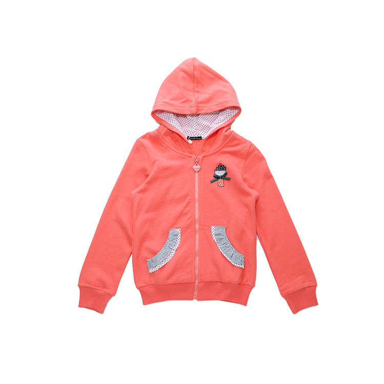2015 spring and autumn new styles kids coat baby girls fashion lace pockets solid color hooded casual coat GA3299(China (Mainland))
