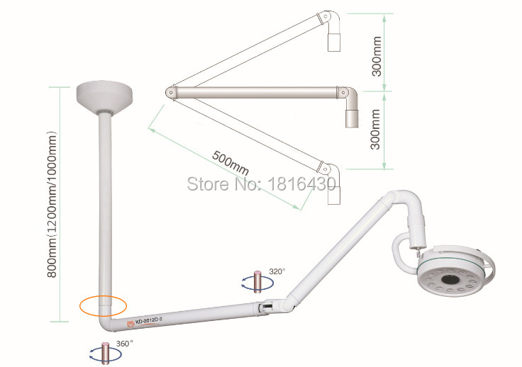 High Quality 36W Ceiling Mounted LED Surgical Medical Examination Light Shadowless Operation Veterinary Light CE/FDA KD-2012D-2(China (Mainland))