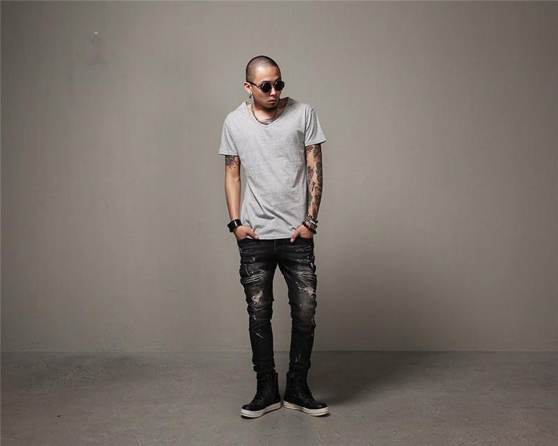 Скидки на 2016 мужские черные джинсы Тонкий стрейч брюки мужские хип-хоп добычу рваные джинсы, отверстия в джинсы дизайнер стиль размер 28-36