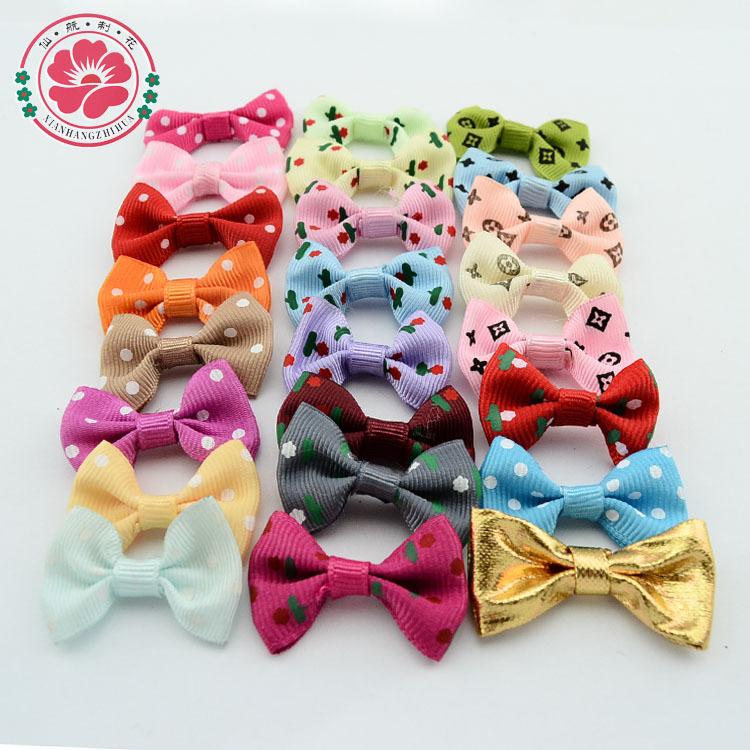 1-488 ( 100pcs/lot ) Handmade Wholesale Sweet Lovely Baby Girl Small Hair Bows Polka Dots Flower Pattern Ribbon Bow For Hairpins(China (Mainland))