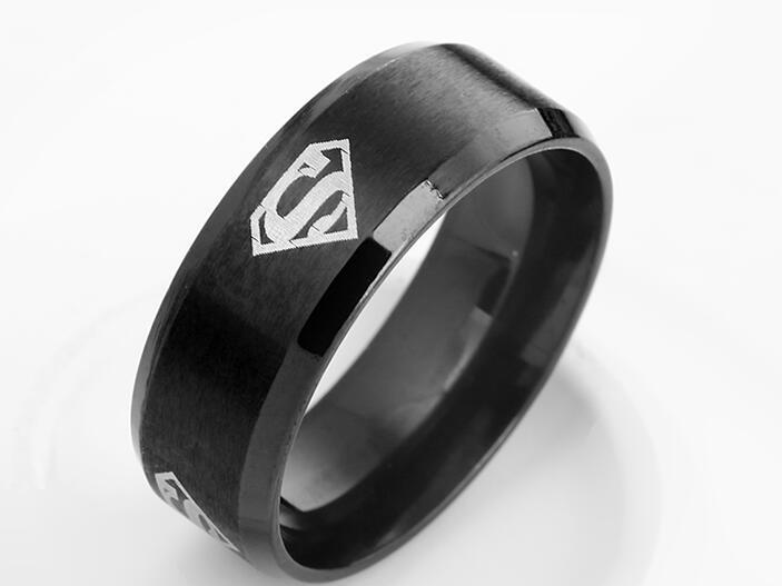 Superman ring titanium stainless steel Men Ring Superman Logo Finger Rings 3 Colors Fashion RING Free shipping(China (Mainland))