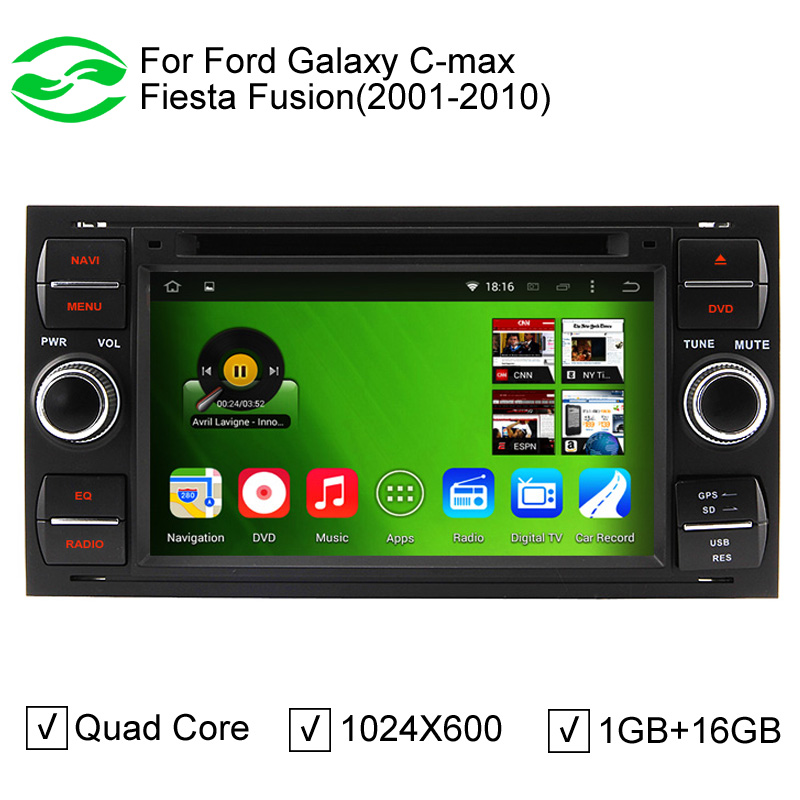 Black Panel Capacitive Screen Pure Android 4.4 Car PC Video Player For Ford Galaxy C-max Fiesta Fusion With Mirrorlink WiFi DVR(China (Mainland))