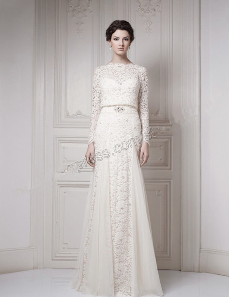 Royal romantic wedding dresses elegant lace chiffon long for Elegant long sleeve wedding dresses