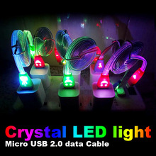For Sumsung Galaxy S5 i9500 N7100 HTC Lenovo Huawei ZTE MX4 Crystal LED light Micro V8 USB data Cable noodle cable charger