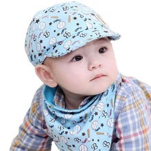 2016 New cartoon baby hat set cotton toddler infant Saliva Towel child caps scarf baby baseball caps for boys girls Bandana bib