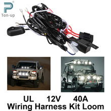 Universal Car Fog Light Wiring Harness Kit Loom For LED Work Driving Light Bar With Fuse And Relay Switch 12V 40A Free Shipping(China (Mainland))