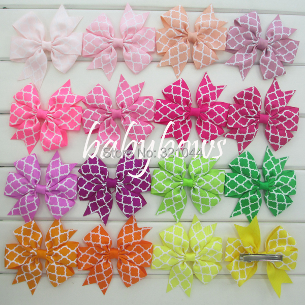 EMS free shipping Bulk order Quatrefoil grosgrain Ribbon Boutique baby girls hair bows WITH clips,800pcs/lot,40 colors in stockОдежда и ак�е��уары<br><br><br>Aliexpress