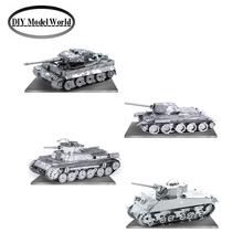 Tank series Set of 4 Metal Earth 3D Model Kits laser cutting DIY metal jigsaw puzzle Tiger , T-34 , Chi-Ha tank and Sherman tank(China (Mainland))