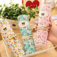 Sweet Countryside Fresh Flowers Roll Pencil Bag Portable Pen Case Cosmetic Bag K6494