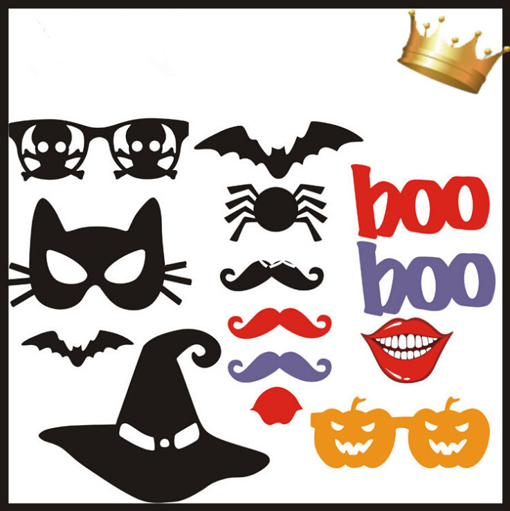 Free Shipping 14pcs Lot Diy Halloween Photobooth Props