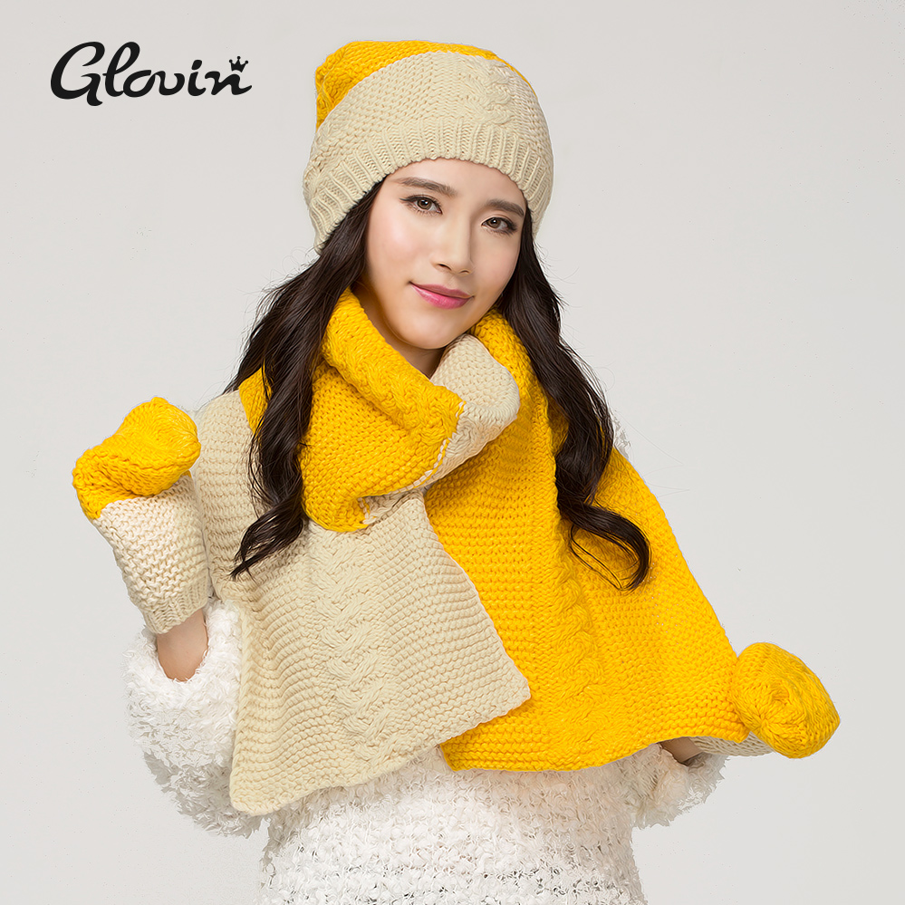 Glovin scarf hat gloves 3 set female winter faux knitted color block thermal plus velvet(China (Mainland))