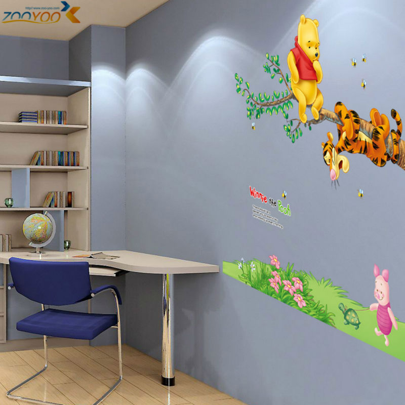 Free Shipping Cute Bear Wall Stickers For Kids Room Diy Bedroom Stikers For W