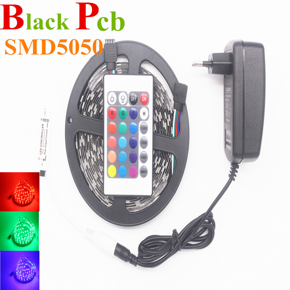 RGB Led Strip Black Pcb 5050 Not Waterproof 5M 60Led/M Led Strip Light DC 12V Fita Led String Strip Bar Neon Bombillas Led Lamp(China (Mainland))