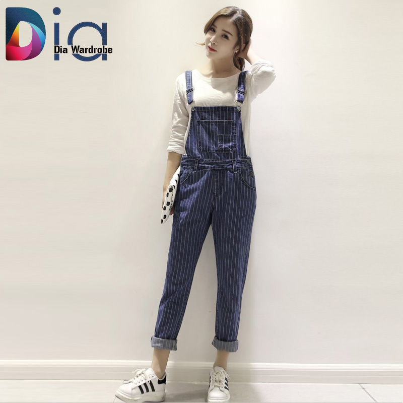 Dia 2016 Spring Korea Women Denim Preppy Style Black Button Pockets Solid Stripe Casual Strap Korean Jumpsuit Overalls Size S-XLОдежда и ак�е��уары<br><br><br>Aliexpress