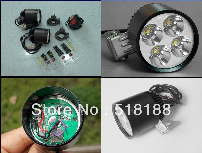 New Waterproof led motorcycle headlight HID 35W CREE chip XML U2 4 LED Spotlight with automatic dimming function&fast flashing(China (Mainland))