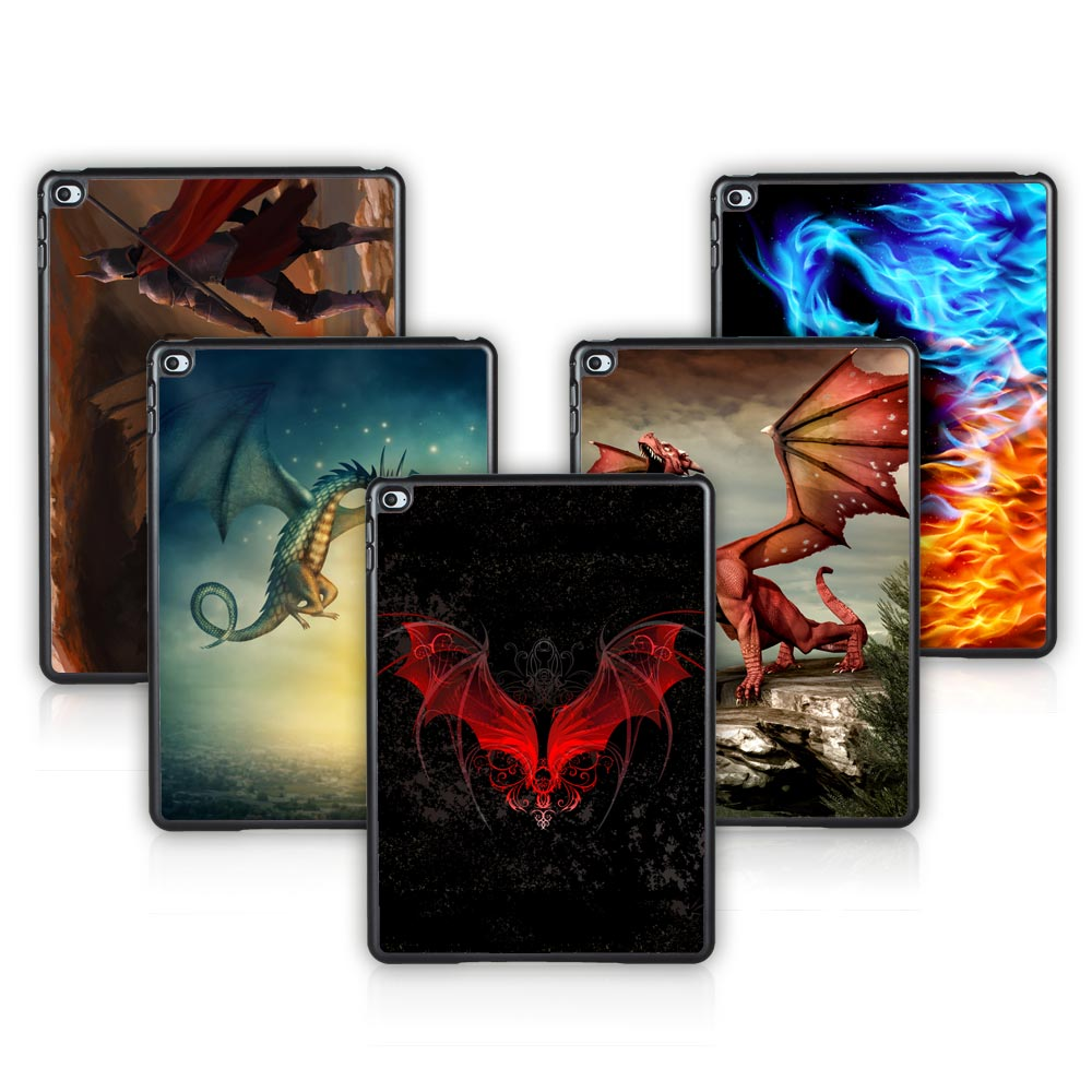 For Apple ipad Air 6 Hard Plastic Case for New ipad air 2 Black Cover Dragon with Fight Pattern Free Screen Film(China (Mainland))