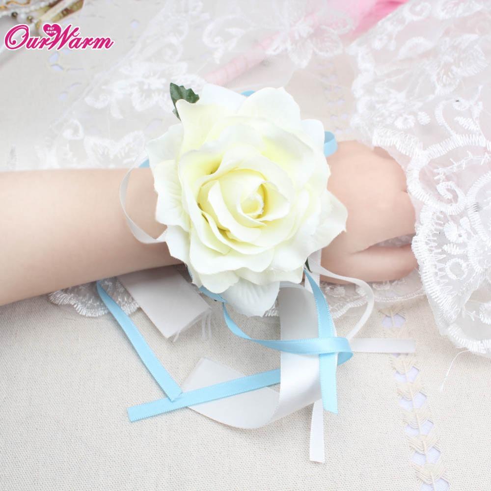 Wrist Flower Rose Silk Ribbon Bride Corsage Hand Decorative Wristband Bracelet Bridesmaid Curtain Band Clip Bouquet(China (Mainland))