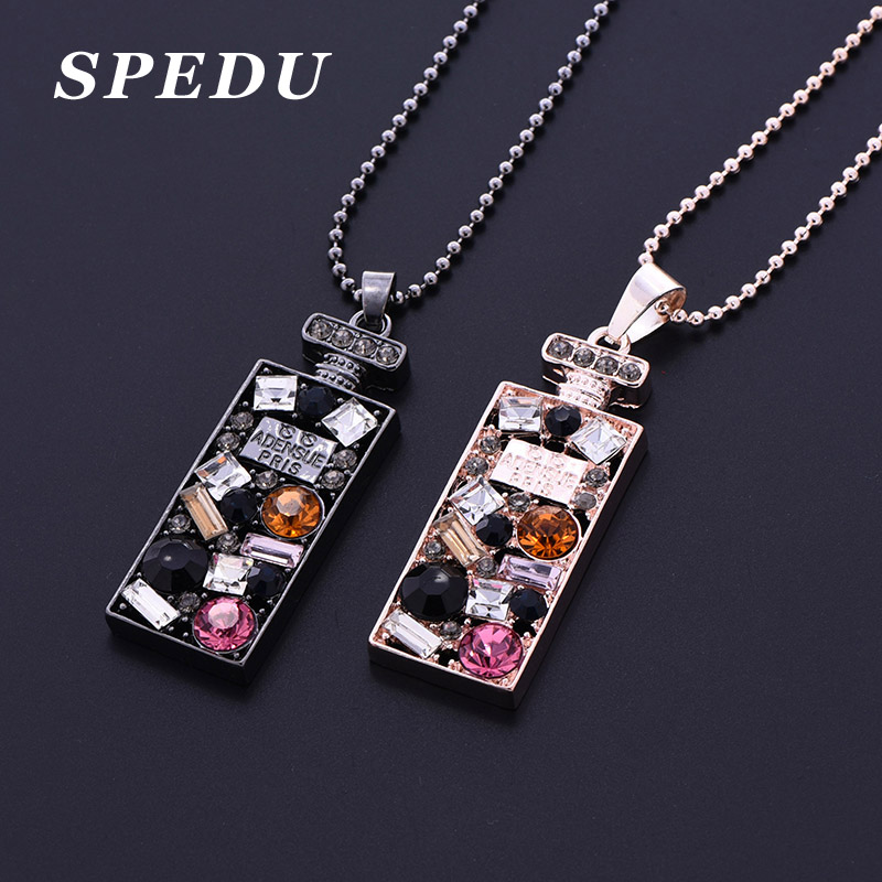 Black Chain Crystal Bottle Long Necklace Perfume bottle Women Classic Fashion Jewelry Necklaces & Pendants Cute Gift All Match(China (Mainland))