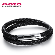 Buy MOZO FASHION Brand Jewelry Men Black / Brown Leather Rope Chain Stainless Steel Bracelet Man Vintage Hand Strap Bracelets MPH957 for $4.99 in AliExpress store