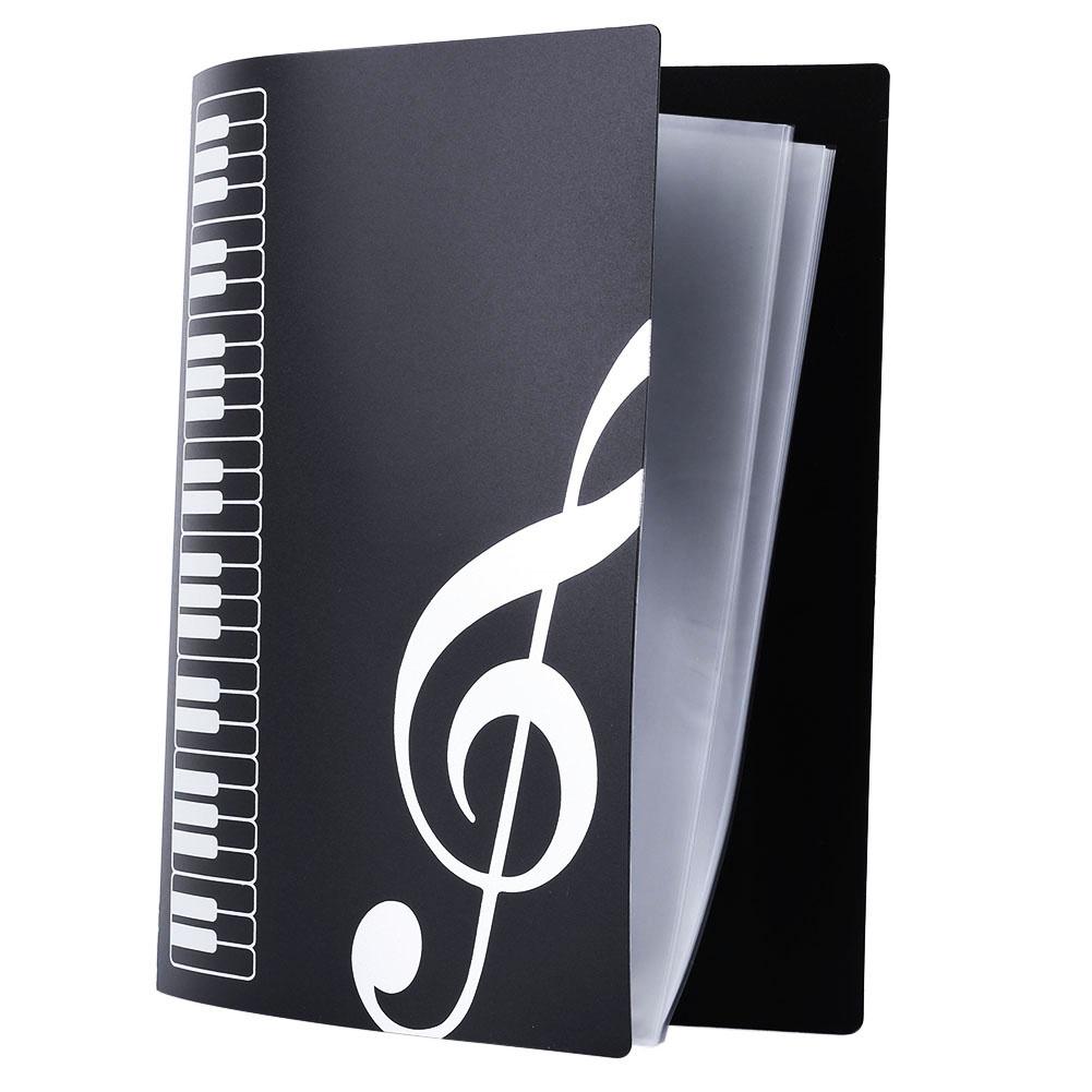 Hot Sale 1Pcs Black Sheet Music File Folder Insert Clip Sheet Music 40 Page Paper Documents Folder Brochure(China (Mainland))