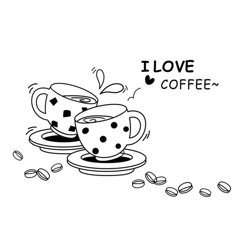 free shipping Fashion New Home Decor Vinyl Wall Sticker Coffee Shop Sign I Love Coffee Room kitchen Decal Art Mural Wallpaper(China (Mainland))
