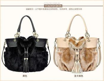 fashionable handbag women's  bag  artificial rabbit fur shoulder  Bag whole sale Free shipping 2013
