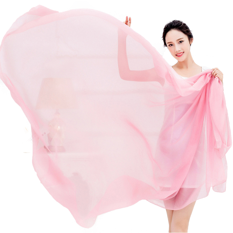 Oversize Solid Women Summer Scarf Spring Echarpe Long Voile Shawls Chiffon Beach Cover-ups Head Wraps UV-Proof(China (Mainland))