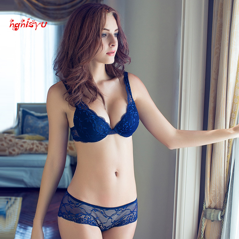 2015 NEWEST Women A/B/C/D Cup Push Up Bra Set Sexy V -Neck Plunge Lace Bra + Briefs , lace bra sexy lingerie bra Free Shipping(China (Mainland))