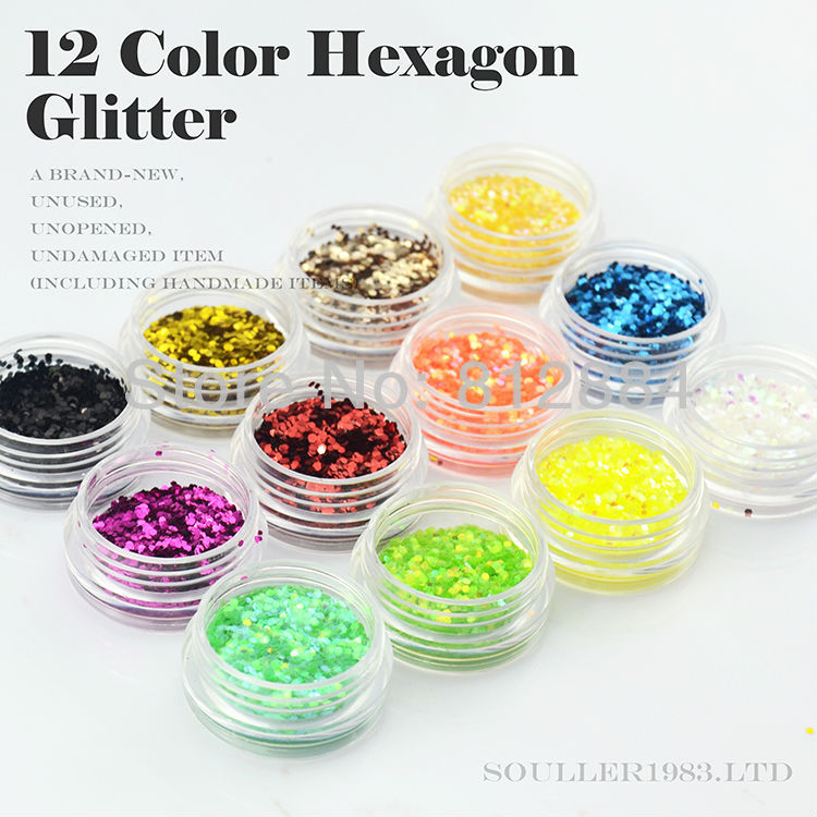 The 12 Pots 3 Colored Nail Art 3D Hexagon Glitter Paillette Powder Spangles Decorations For UV Nail In Acrylic Box B38(China (Mainland))