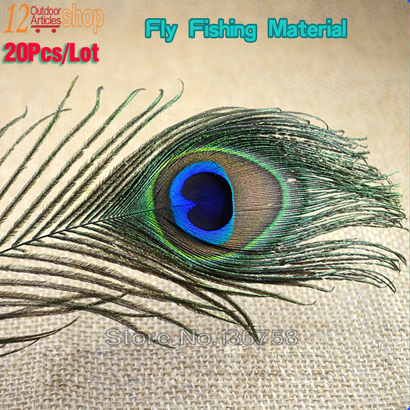 20Pcs Natural Peacock Tail Eye Hair for Fly Tying Streamer Slamon Flies Olive Peacock Feather Fly Fishing Lure Bait DIY Material(China (Mainland))