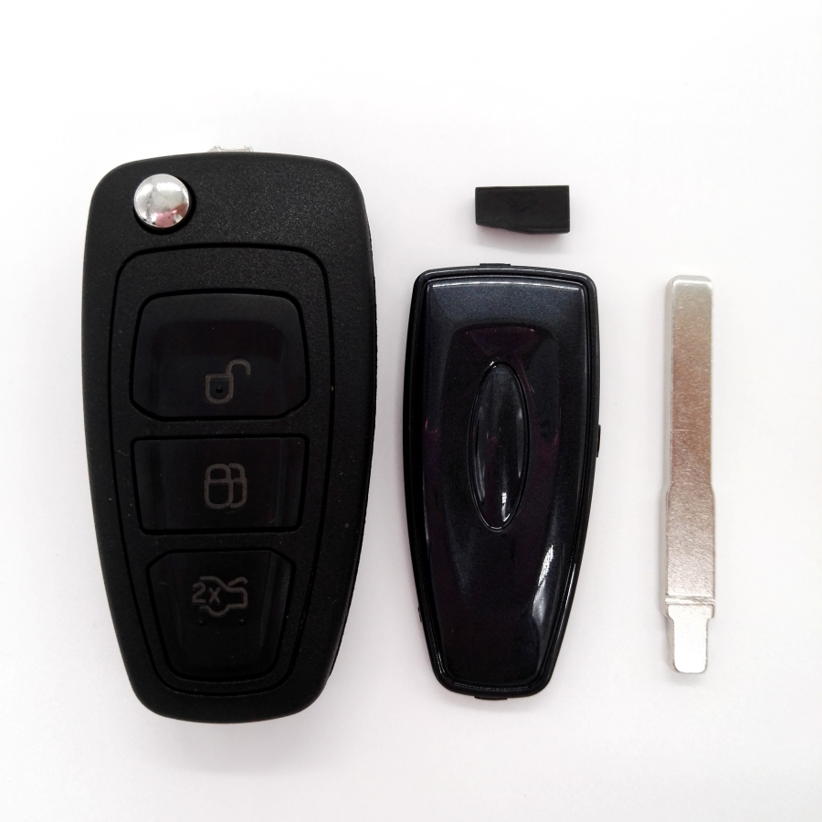 Hot!New 3 Button 433MHZ Folding Flip Remote Key For FORD Focus WITH 4D63 80bit Chip HU101 Blade(China (Mainland))