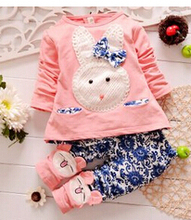 2015 new baby girls clothing set kids Cartoon long sleeve clothes suits children Girls T shirt