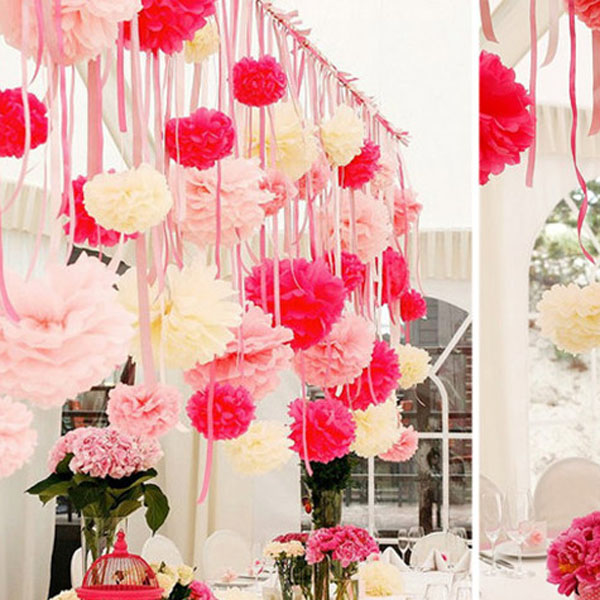 Paper flowers ball garland decoration wedding birthday for Paper craft ideas for decoration