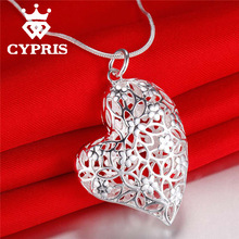 Hot Promotion silver Fashion Nice Water Drop Hollow Pendant Necklace 18inch CYPRIS 925 jewelry(China (Mainland))