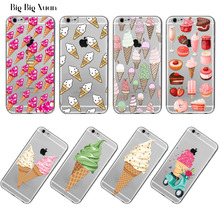 Ice cream Donuts Macaron Pattern Case Cover iphone 5 5s SE 6 6s Plus 6Plus 4 4s 5C Transparent Silicone Phone Protective - bigbigxuan Official Store store