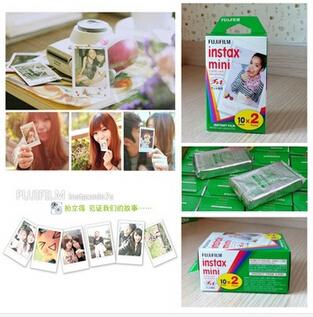 100% Original 1 Packs 20Pcs Fujifilm Instax Mini Film White Edge Instant Photo for Camera Mini 7s 8 25 50s 90 gift+ retail box(China (Mainland))