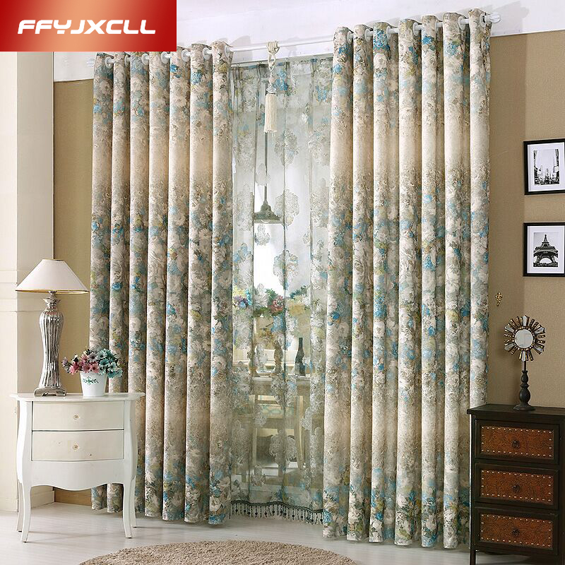 1 PC Printed tulle Curtains for the Bedroom Elegant Window Curtains for Living Room Blinds Drapes Ready Made Blackout Curtain(China (Mainland))