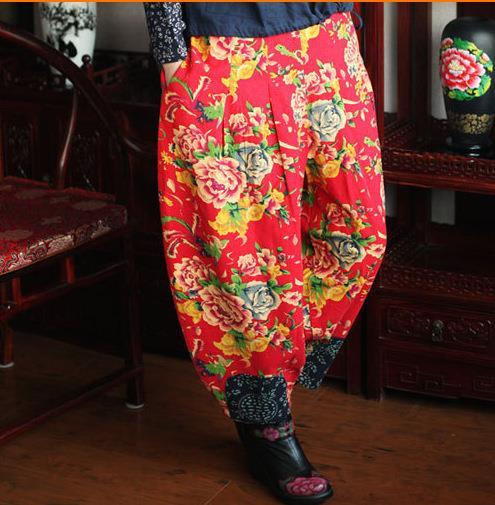 Spring 2015 New Cotton Linen Women Trousers National Wind Loose Plus Size Bloomers Patchwork Print Floral Long Harem Pants(China (Mainland))