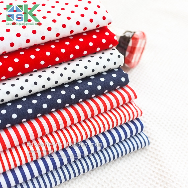 DIY sewing fabric Navy style red and blue stripe cloth flat - 100% dot design cotton clothes - fabric for any kind of fabric(China (Mainland))