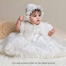 Lace baby girl christening gowns bautizo baby frock designs baptism bapteme(China (Mainland))