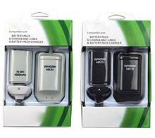 2 аккумулятор + 1 зарядное устройство + 1 Usb кабель для Xbox 360 360-черный белый аккумуляторная 4800 мАч Ni MH аккумулятор
